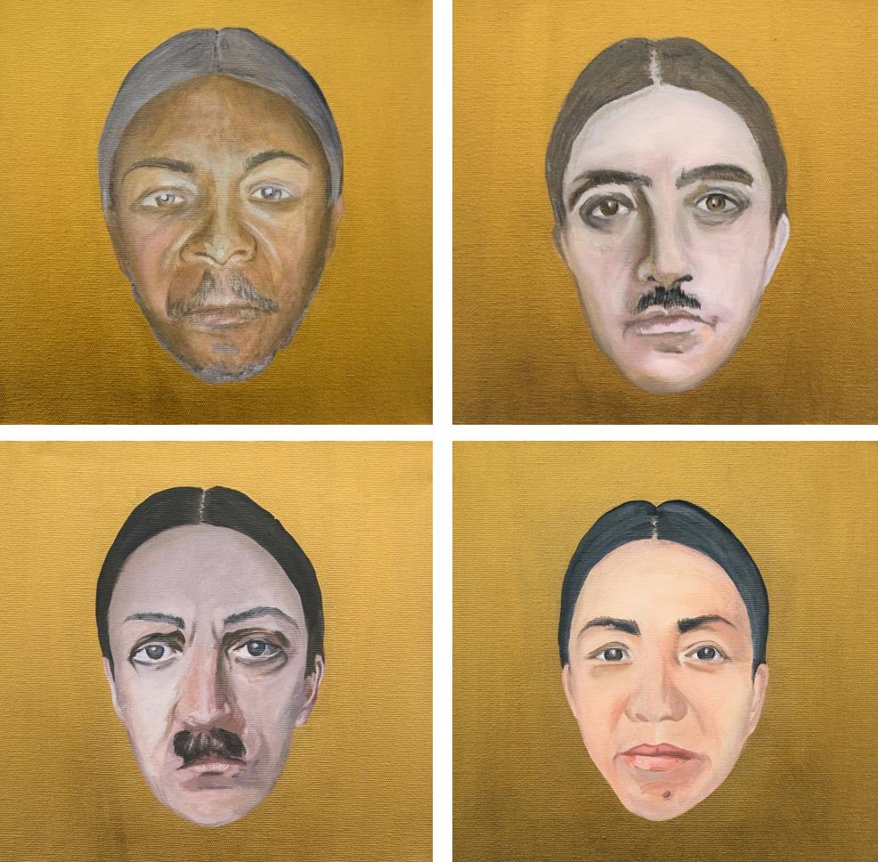 monsters,2015, 14 acrilici su tela-monster #6 Bokassa and me-monster #4 morphing Franco and me-monster #3 morphing Hitler and me-monster #5 morphing Mao and me