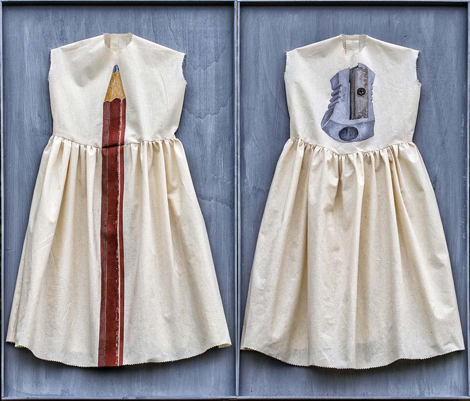 Elisa Zadi-Sister-Olio con tessuto su legno, 35x33