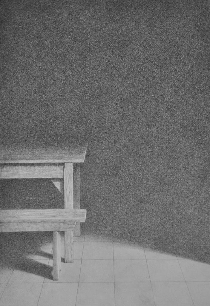 Giuseppe Sciortino-Interno Barbiana, grafite su carta 48x33