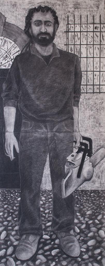 Luca Corti-Vale-carboncino,grafite,pigmento su legno, 180x72