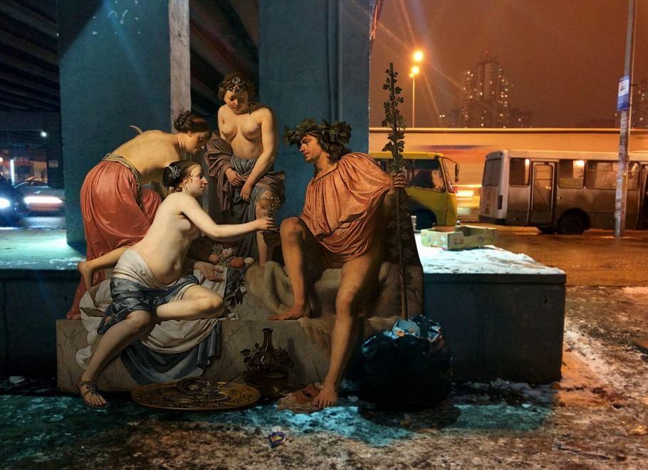 Caesar van Everdingen - Bacchus on a Throne - Nymphs Offering Bacchus Wine
