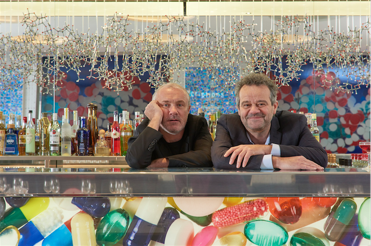 Damien Hirst (left) and Mark Hix (right) at the Pharmacy2 bar.